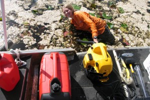 Vacuuming the Everglades. Shop vacs are used to collect flocculated organic sediment.