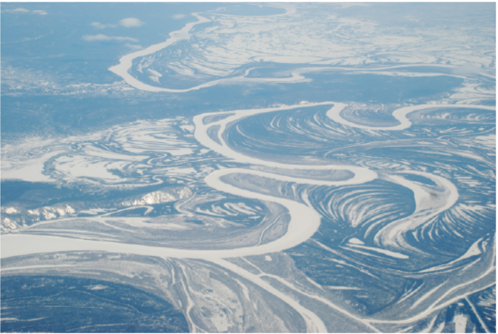 An Alaskan river with remarkable channel-floodplain connectivity.