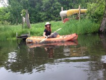 Danielle Watts prepares to paddle back in time at Great Marsh