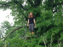Danielle Watts surveys Great Marsh, PA from a treestand